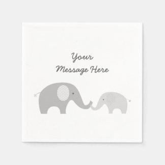 Grey Chevron Elephant Baby Shower Disposable Napkin