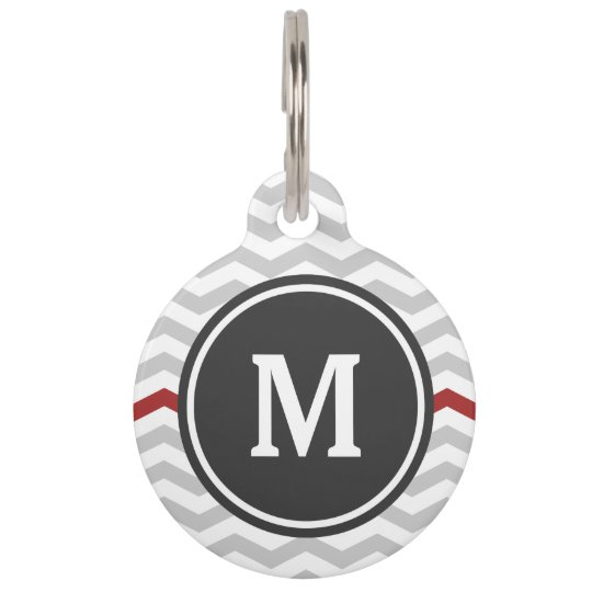 Grey Chevron Monogram Pet Name Tag