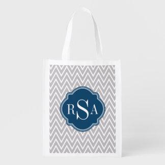 Grey Chevron Navy Monogram Initial Letter Grocery Bag