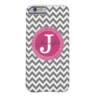 Grey Chevron & Pink Monogram iPhone 6 case