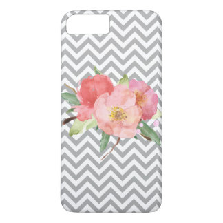 Grey Chevron Pink Watercolor Floral iPhone 7 Plus Case