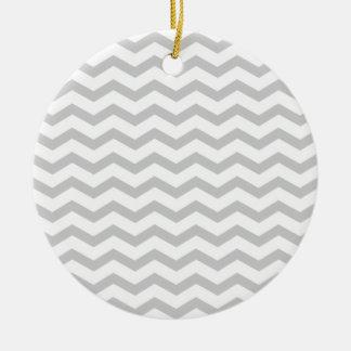 Grey Chevron Round Ceramic Ornament