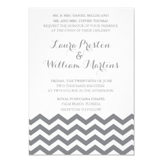 Grey Chevron Wedding Invitation