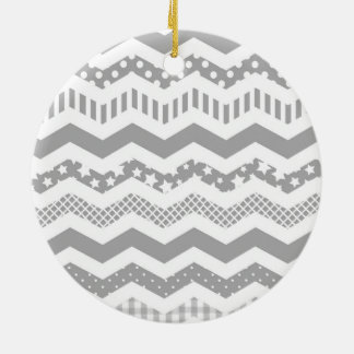 Grey Chevron with a twist Double-Sided Ceramic Round Christmas Ornament