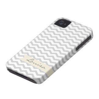 Grey Chevron with beige personalized label iPhone 4 Cover