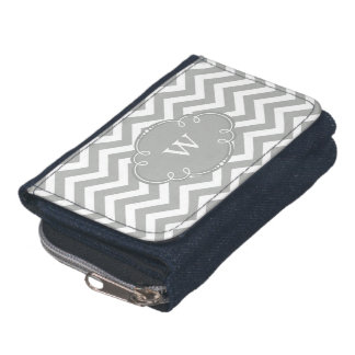 Grey Chevron with Monogram Wallets