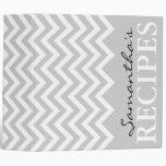 Grey chevron zigzag pattern recipe binder book