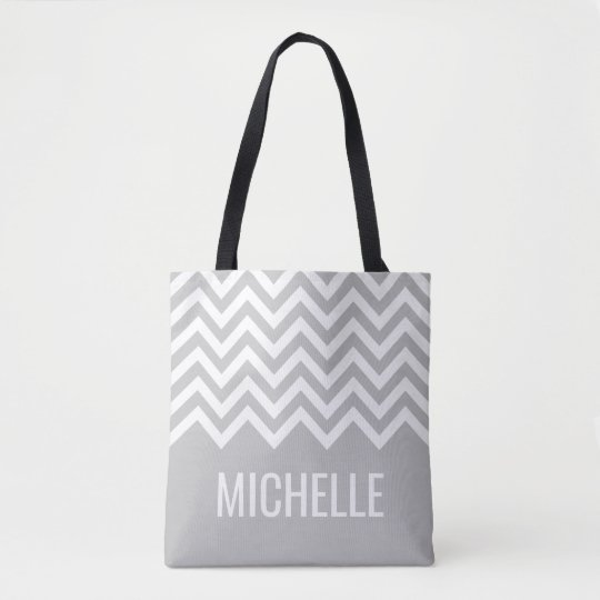 Grey chevron zigzag pattern wedding tote bags