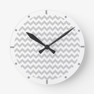 Grey Chevrons On White Wall Clock