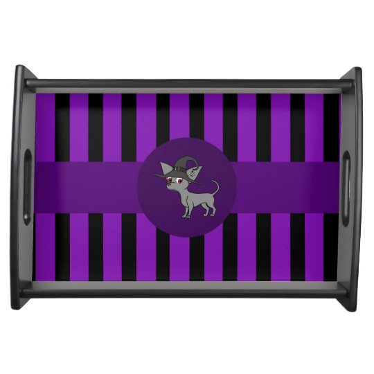 Grey Chihuahua with Witch Hat & Purple Stripes Service Trays