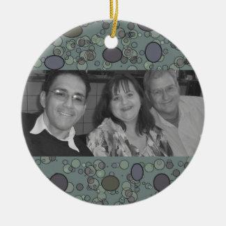 grey circles photoframe christmas ornament
