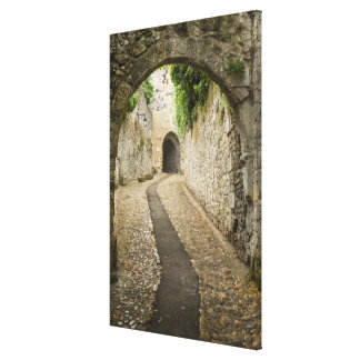 Grey Cobblestone street, France Canvas Print