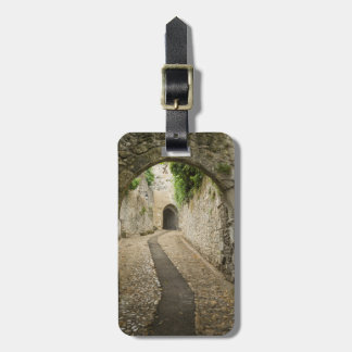 Grey Cobblestone street, France Luggage Tag
