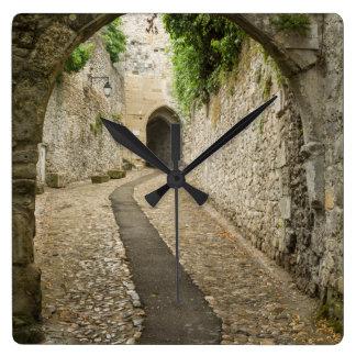 Grey Cobblestone street, France Wall Clocks