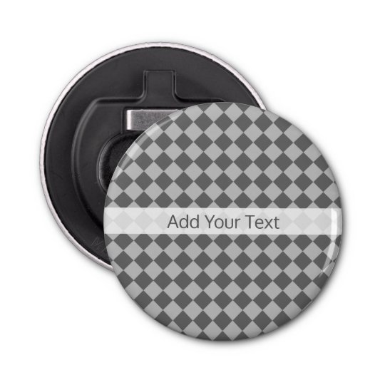 Grey Combination Diamond Pattern by Shirley Taylor Button Bottle Opener