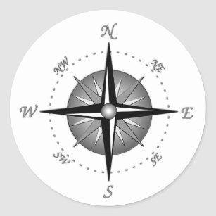 Grey Compass Rose Classic Round Sticker