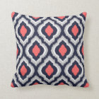 Grey Coral and Navy Ikat Moroccan Monogram Throw Pillow