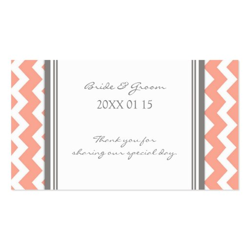Grey Coral Chevron Wedding Favor Tags Business Card Templates