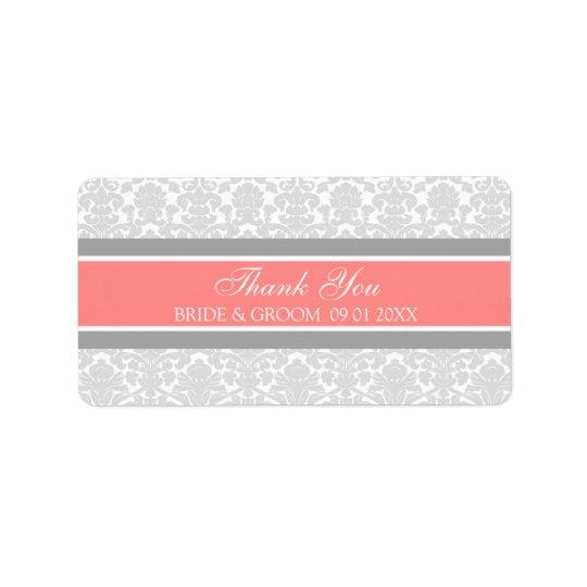 Grey Coral Damask Wedding Labels