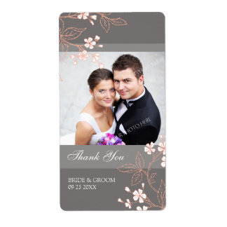 Grey Coral Floral Photo Wedding Labels