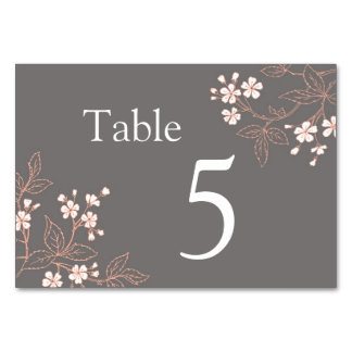 Grey Coral Floral Wedding Table Number Cards