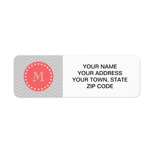 Grey & Coral Modern Chevron Custom Monogram Return Address Label