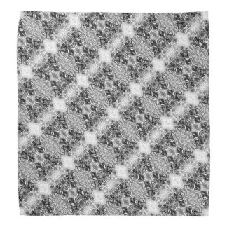 Grey Crisscross Floral Patterned Head Kerchief