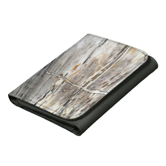 Grey Crystal & Wood Print Wallet