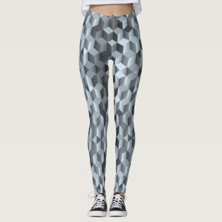 Grey cubes, geometric shapes, abstract design leggings