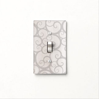 Grey curls lines light switch cover