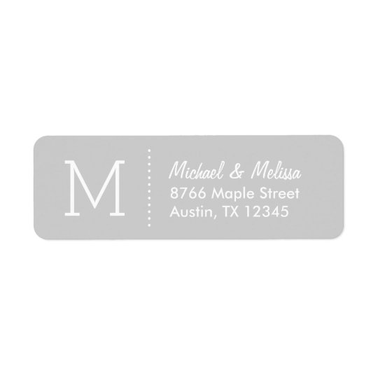 Grey Custom Monogram Return Address Label