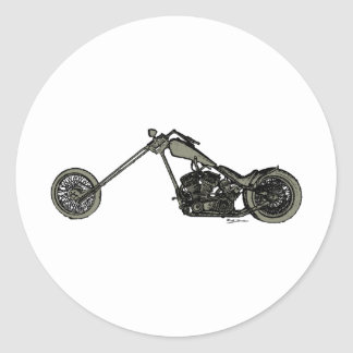 Grey Custom Motorcycle Classic Round Sticker