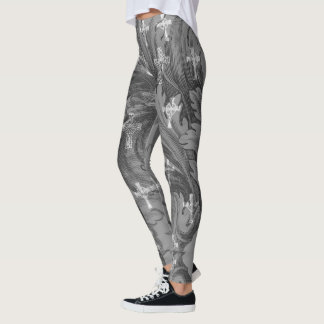 Grey Damask Crosses Goth Leggings