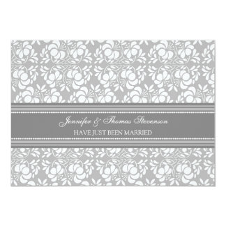 Grey Damask Just Married Announcement Cards
