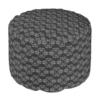 Grey damask on black background pouf