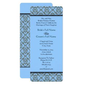 Grey Damask On Powder Blue Wedding Invitation