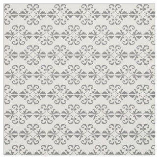 Grey damask pattern on white background fabric