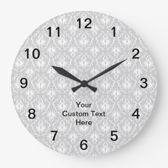 Grey Damask Pattern with Custom Black Text. Clock