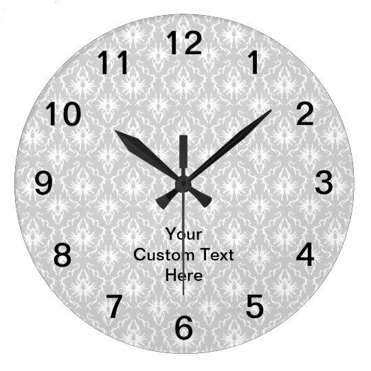 Grey Damask Pattern with Custom Black Text. Large Clock