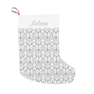 Grey Damask Pattern With Custom Name Small Christmas Stocking