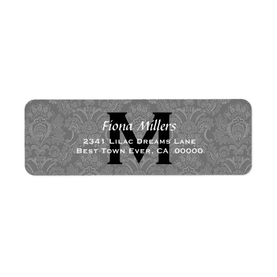 Grey Damask Wedding Monogram Address Label V11