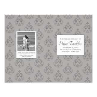 Grey Damask Wedding Program Flyer
