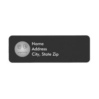 Grey Dazed and Confused Smiley Return Address Label