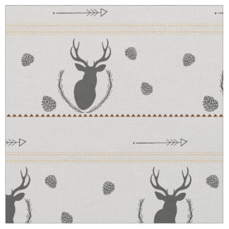 Grey Deer Pattern Fabric
