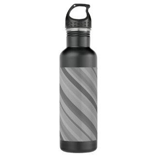 Grey diagonal stripes 710 ml water bottle