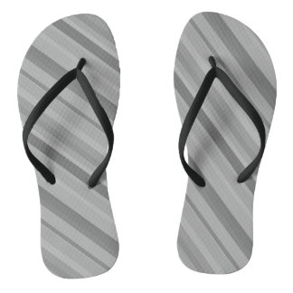 Grey diagonal stripes flip flops