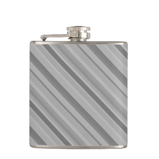 Grey diagonal stripes hip flask