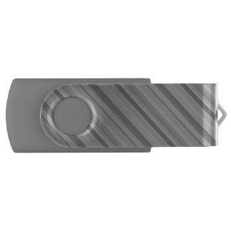 Grey diagonal stripes USB flash drive