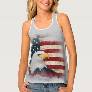Grey Distressed Patriotic US Flag , Bald Eagle Tank Top