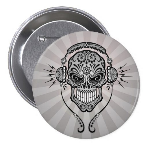 Grey DJ Sugar Skull with Rays of Light Buttons